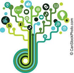 média, társadalmi, fa, hálózat, ikonok