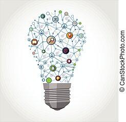 média, társadalmi, gumó, fény, ikonok
