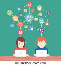 média, társadalmi, hálózat, emberek