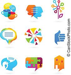 média, társadalmi, hálózat, gyűjtés, ikonok