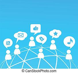 média, társadalmi, hálózat, háttér, ikonok