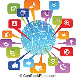 média, társadalmi, hálózat, világ, ikonok
