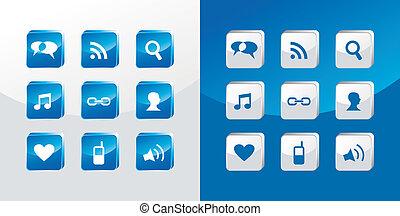 média, társadalmi, pohár, ikonok