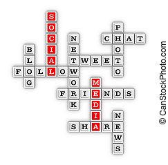 média, társadalmi, puzzle., hálózat, keresztrejtvény