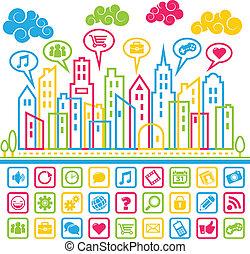 média, társadalmi, város