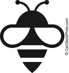 méh, ikon, vektor
