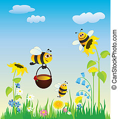 méhek, kaszáló