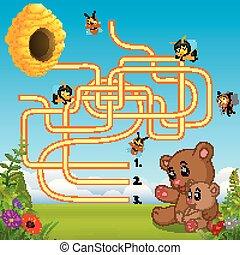 méhkas, talál, segítség, hord, út