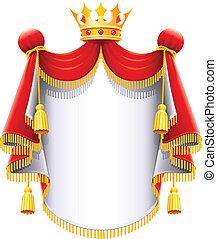 méltóságteljes, fejtető, királyi, arany, eltakar