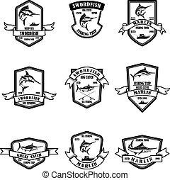 mély, cégtábla., állhatatos, címke, elem, halászat, emblems., tervezés, marlin, embléma, jel, tenger