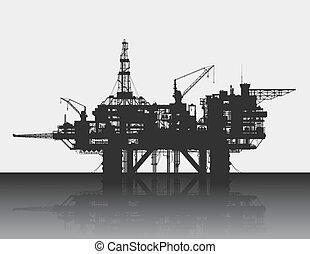 mély, sea., részletes, tenger, rig., vektor, emelvény, illustration., olaj