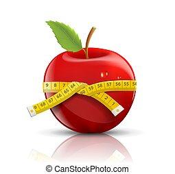 mérés, alma, elszigetelt, szalag, háttér, white piros
