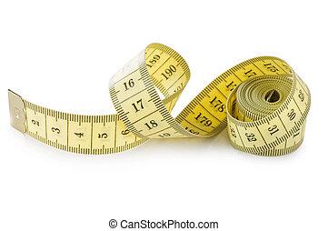 mérés, elszigetelt, sárga, szalag, háttér, fehér