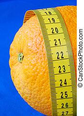 mérés, kék, egészséges, elszigetelt, diéta, szalag, fogalom, narancs