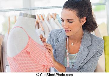 mérés, mód, ruha, tervező, műterem