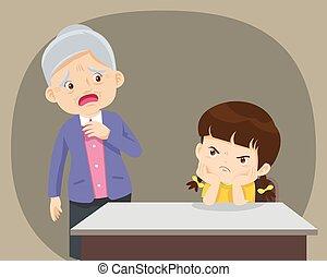 mérges, öregedő, néz, bír, aggodalom, ülés, gyermek