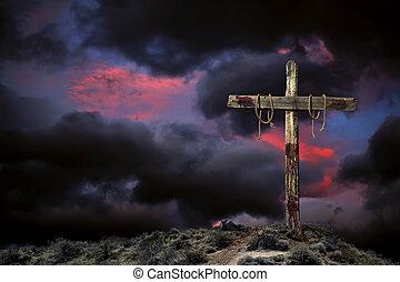 mérges, üres, ég, kereszt, ellen