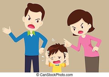 mérges, bús, anyu, fiú, apuka, vita