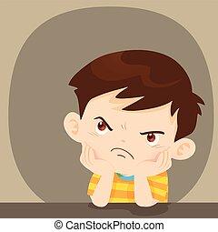 mérges, elégedetlen, ülés, fiú, arc, néz