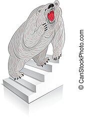 mérges, grizzly tart, mászik, (gray), háttér., karikatúra, lépcsősor, fehér