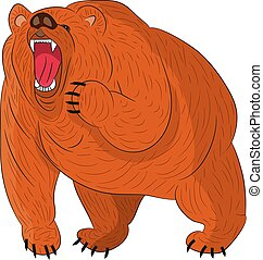 mérges, growls, grizzly tart, (brown), háttér., karikatúra, fehér