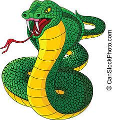 mérges, kobra, karikatúra