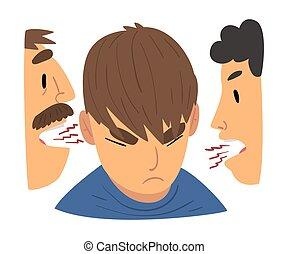 mérges, konfliktus, birtoklás, anya, megvitat, szülők, vita, lázadó, ábra, fiú, vektor, atya, tízenéves kor