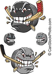 mérges, korong, megvédő, rossz, bot, jégkorong