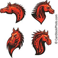 mérges, lángoló, állhatatos, ló, kabala