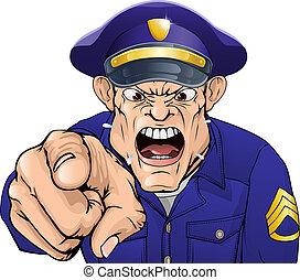 mérges, rendőr