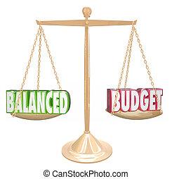 mérleg, anyagi, állami bevétel, egyenlő, költségvetés, kiadások, szavak, kiegyensúlyozott, 3