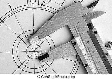 mérnök-tudomány, caliper, rajz