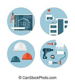 mérnök-tudomány, körülbelül, szerkesztés letesz, ikonok, lakás