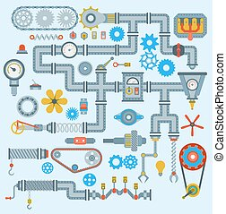 mérnök-tudomány, technológia, szerkezet, vektor, design., iparág, rész, bekapcsol, engine., robotic, automata, alkatrészek, munka, műszaki, szerelő, manufacturing felszerelés, gyár, ikonok, állhatatos, mechanikai, szerszám, gépezet