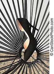 mértan, finom, shoes., fény, women's, megkorbácsol, fekete, sima, szék, rotáng, high-heeled, megsarkal, cipők