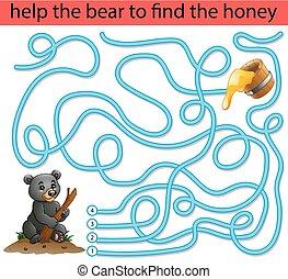 méz, segítség, hord, talál