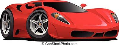 mód, ábra, csípős, vektor, sports-car, karikatúra, piros, európai