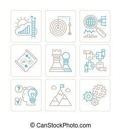 mód, állhatatos, ügy icons, monó, vektor, híg, fogalom, egyenes