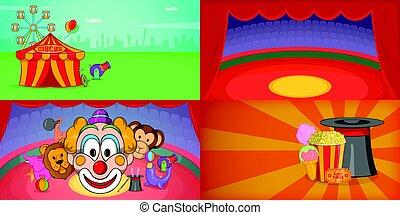 mód, állhatatos, cirkusz, horizontális, transzparens, karikatúra