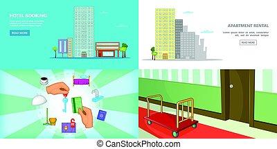 mód, állhatatos, hotel, horizontális, transzparens, karikatúra