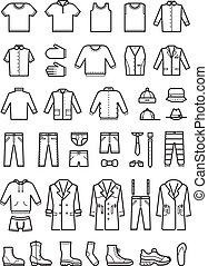 mód, állhatatos, ikonok, mens, vektor, öltözet, egyenes, hím