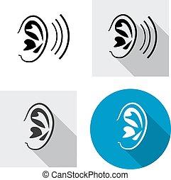 mód, állhatatos, lineáris, kilátás, fül, lejtő, ikon