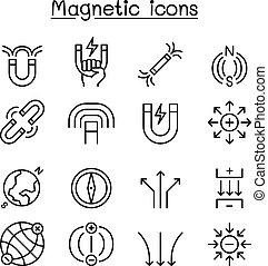 mód, állhatatos, mágnes, sovány megtölt, ikon