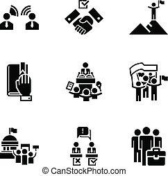 mód, állhatatos, politikai, egyszerű, választás, ikon