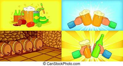 mód, állhatatos, sör, horizontális, transzparens, karikatúra