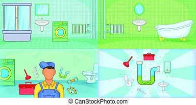 mód, állhatatos, vízvezeték szerelő, horizontális, transzparens, karikatúra