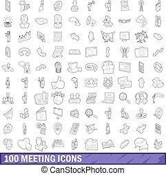 mód, áttekintés, ikonok, állhatatos, 100, gyűlés