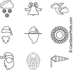 mód, áttekintés, ikonok, állhatatos, időjárás, hideg