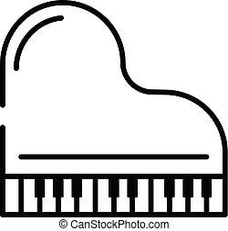 mód, áttekintés, tető, nagy, ikon, zongora, kilátás