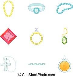 mód, ékszerek, arany, ikonok, állhatatos, ezüst, karikatúra